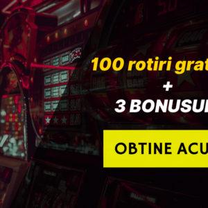100 rotiri gratuite daca depui minim 50 RON