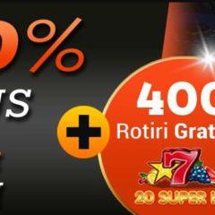 Pana la 400 rotiri gratuite FARA RULAJ la jocul 20 Super Hot