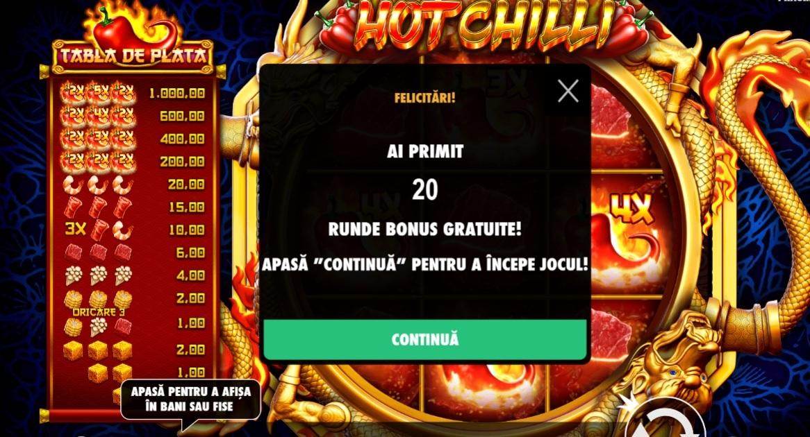 20 rotiri gratuite hot chilli